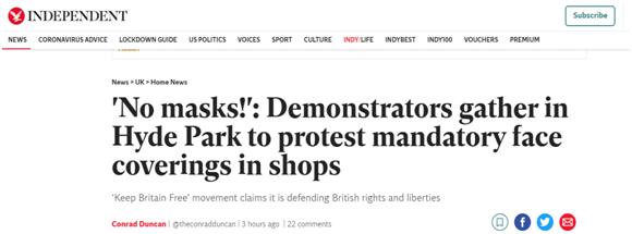 """独立报》:""""不要戴口罩!"""":示威者聚集在海德公园,抗议商店强制要求戴口罩。"""