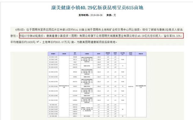 昆明市呈贡区人民政府官网2019年6月发布的康美健康小镇拿地信息。