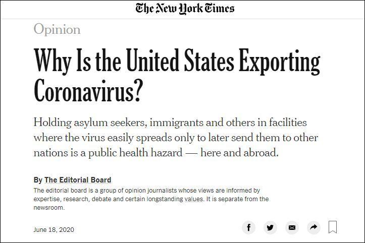 【李守洪排名大师】_《纽约时报》社论:为什么说美国正在出口新冠病毒?