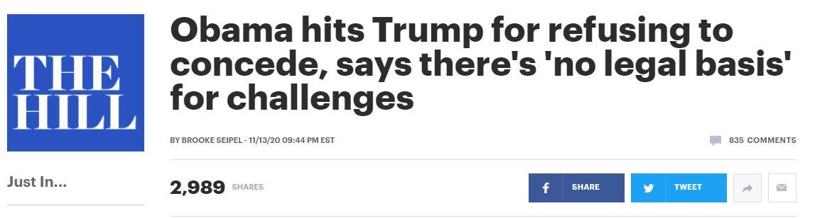 (《国会山报》:奥巴马抨击特朗普拒绝承认败选,称其发起的挑战没有法律依据)