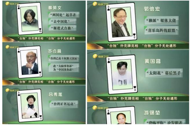 """2018年由《海峡卫视》所开列的""""台独扑克牌"""",有13人被列为""""台独份子""""。(图/海峡卫视截图)"""