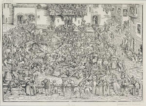 克拉纳赫,《集市上的争夺战》,1506年,木刻版画(复制,原始尺寸26.8 x 37.5cm),法兰克福斯特德尔博物馆藏