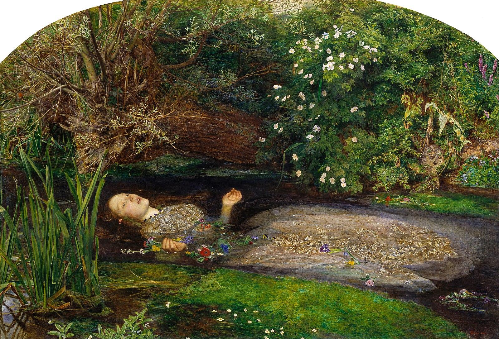 """约翰·艾佛雷特·米莱的名作《奥菲利娅》,描绘《哈姆雷特》里奥菲利娅溺死的场景。""""毛茛、荨麻、雏菊和长颈兰""""是奥菲利娅手中花环的材料。 维基百科 图"""