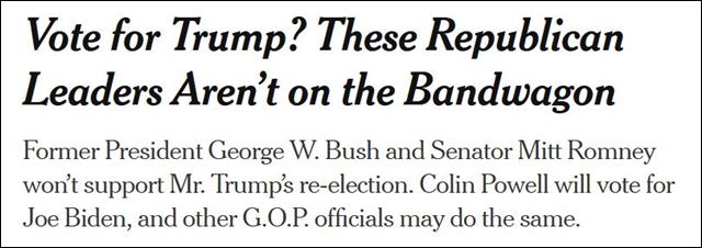 """《纽约时报》截图 """"投票给特朗普?这些共和党领袖不会随波逐流"""""""