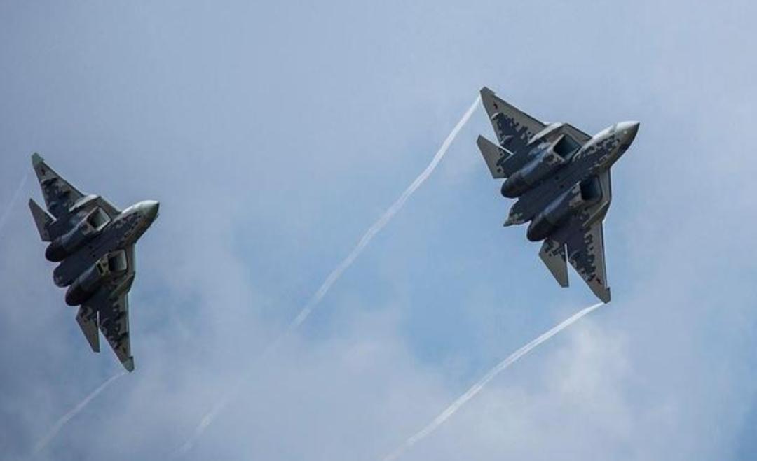 """苏-57隐形战斗机,被认为是美军F-22""""猛禽""""的对手(美国国防部网站)"""