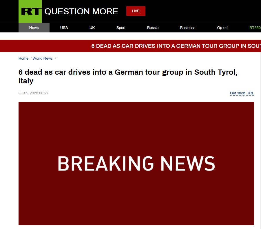 意大利一輛汽車凌晨沖撞德國旅行團 已致6人死亡