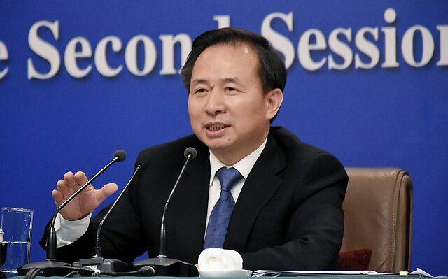 2019年3月11日,时任生态环境部部长李干杰出席十三届全国人大二次会议记者会。图/生态环境部微信公众号