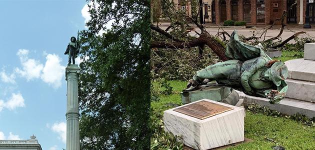 路易斯安娜州一处引发争议的邦联雕像被飓风吹倒 图自:社交媒体