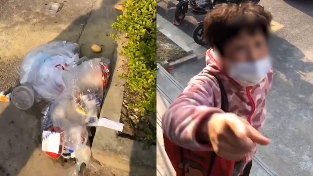 上海一对母子楼下乱扔垃圾 老外指责他们没素质被反咬一口