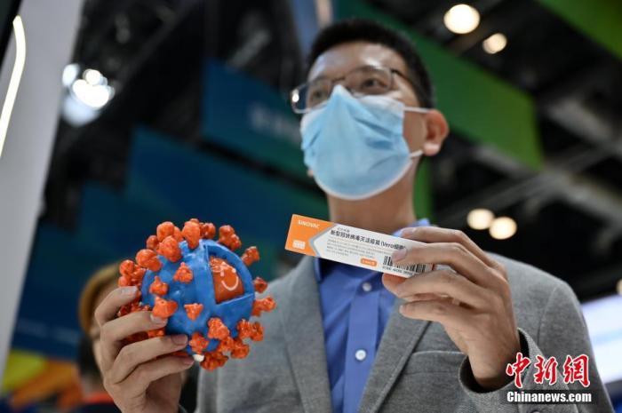 资料图:9月5日,工作人员在2020年服贸会综合展区展示新冠病毒灭活疫苗抗原3D模型和新冠病毒灭活疫苗。中新社记者 张兴龙 摄