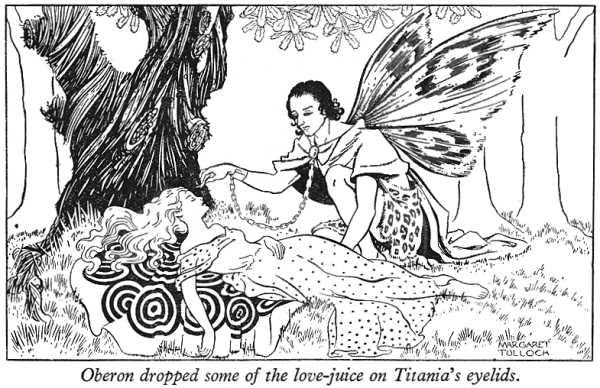 """奥布朗的亲信帕克把三色堇的汁液滴在提泰妮娅的眼皮上,如此一来她将""""疯狂爱上""""睁开眼后看到的第一个生物。 grandmasgraphics 图"""