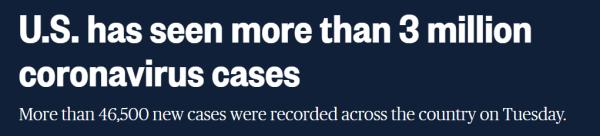 媒媒报道:美国新冠肺炎确诊病例已超300万例