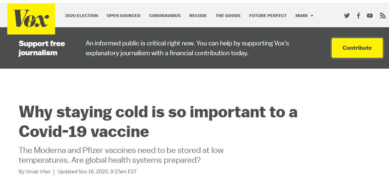 (一些美国媒体自己也指出辉瑞以及美国另一家药厂莫德纳搞出的这种mRNA疫苗最大的难点是对冷链运输的要求极高,物流方面能否支持将是一个巨大挑战)