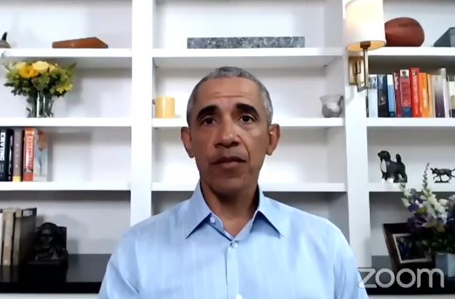 奥巴马在家中声援示威者 视频截图