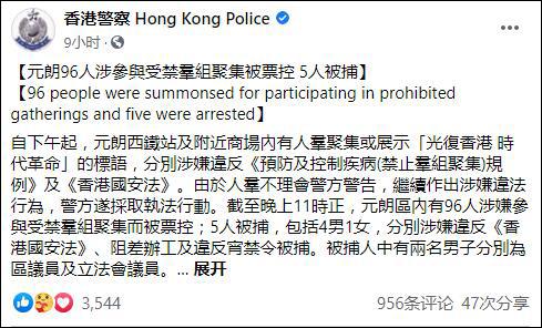 """【亚洲天堂分析】_香港元朗示威96人被票控5人被捕:区议员举""""港独""""标语被拷走"""