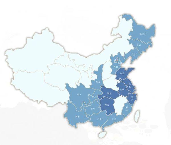 近代蓝印花布主产区分布图