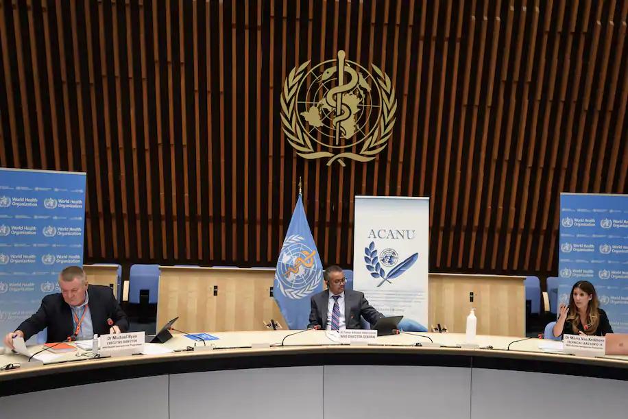 2020年7月,世卫组织在日内瓦召开新闻发布会,介绍全球疫情。图源:欧新社