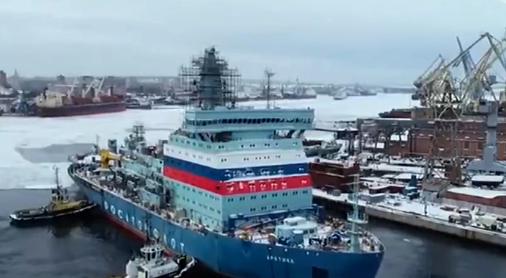 """▲去年12月,排水量3.35万吨的俄罗斯""""北极""""号核动力破冰船完成首次航行试验"""
