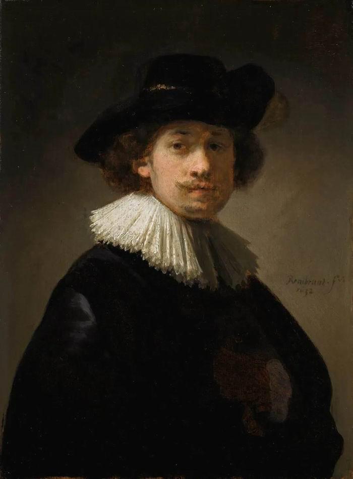 伦勃朗《戴襞襟和黑帽的艺术家自画半身像》