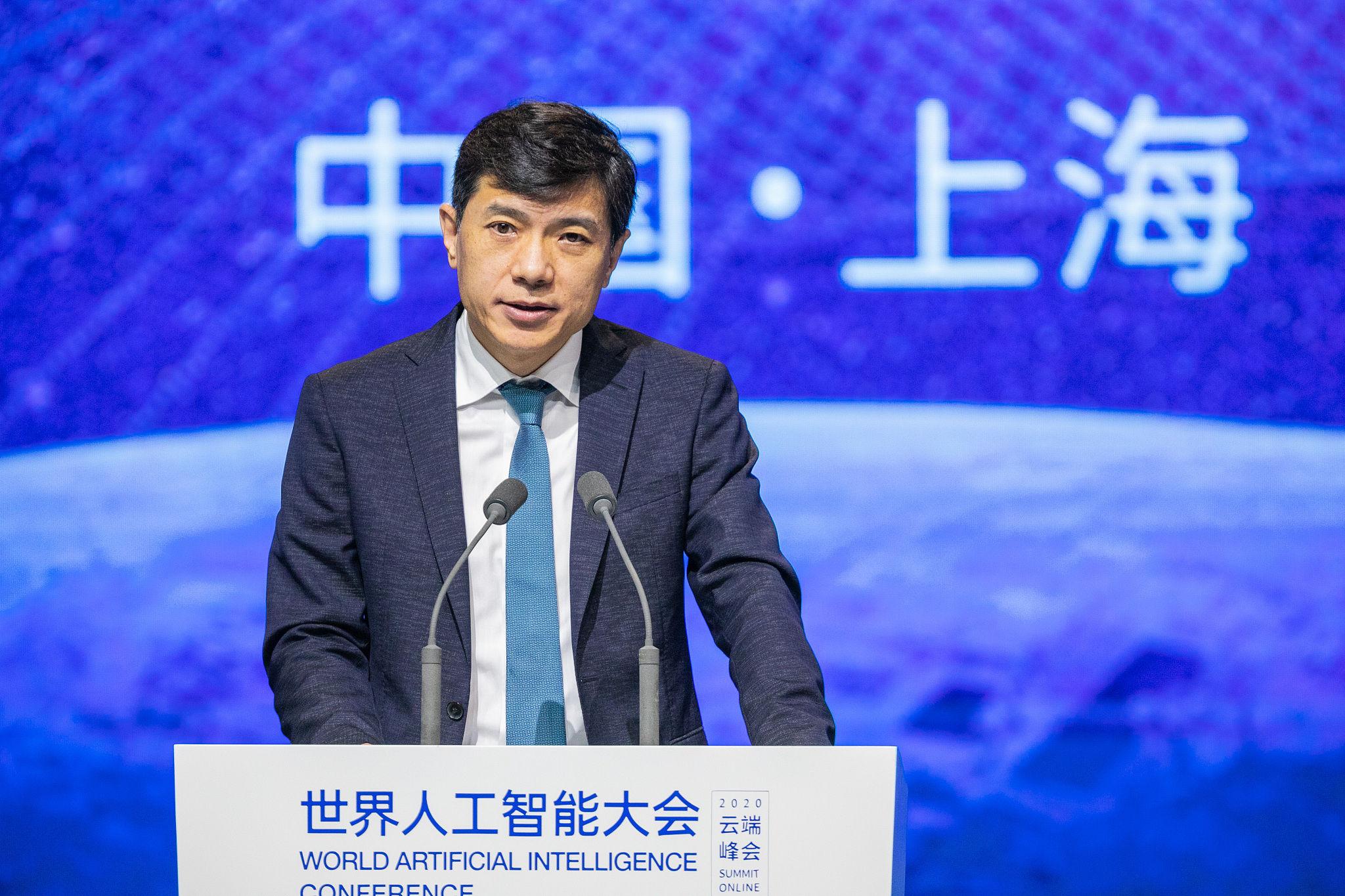 李彦宏在 2020 世界人工智能大会现场   视觉中国