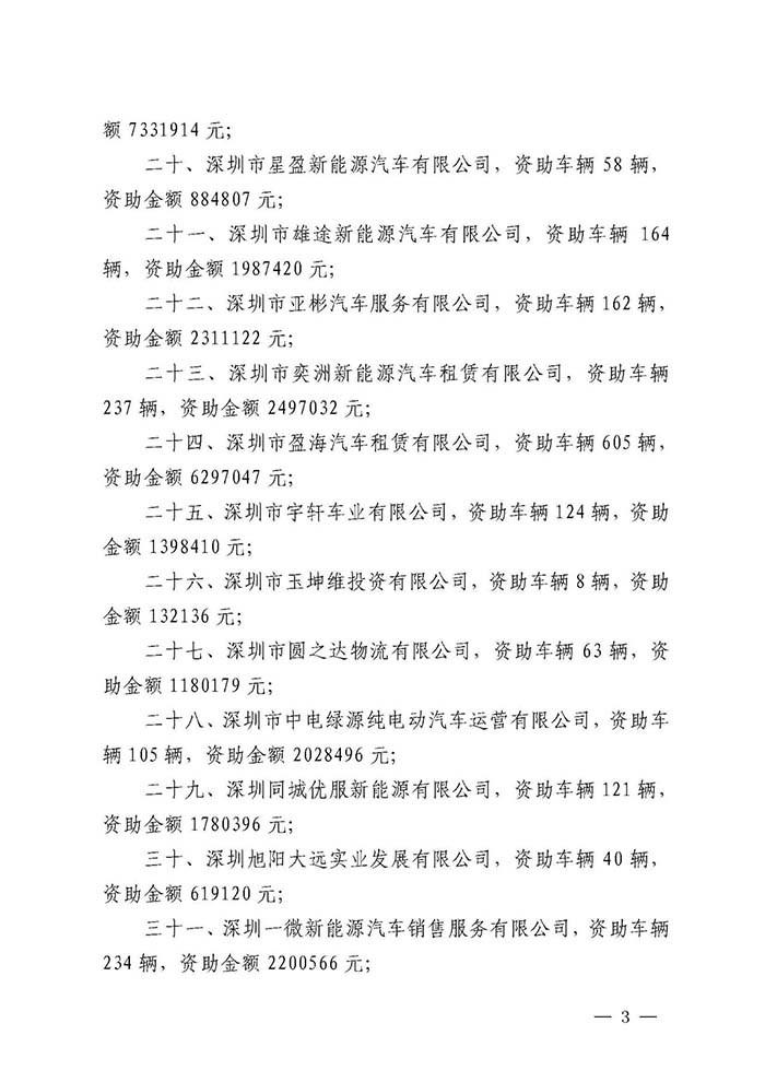 深圳公布2019年度纯电动物流配送车辆运营资助结果
