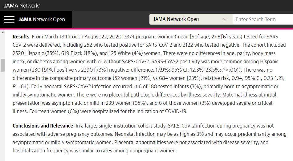(截图来自《美国医学会杂志》上刊登一篇新冠病毒不会影响女性早期流产率的论文)
