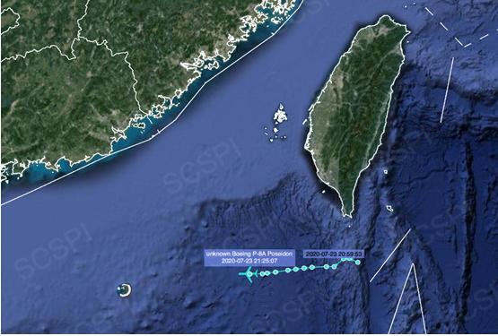 """""""南海战略态势感知计划""""平台发布的7月23日美军P-8A反潜巡逻机飞行路线"""