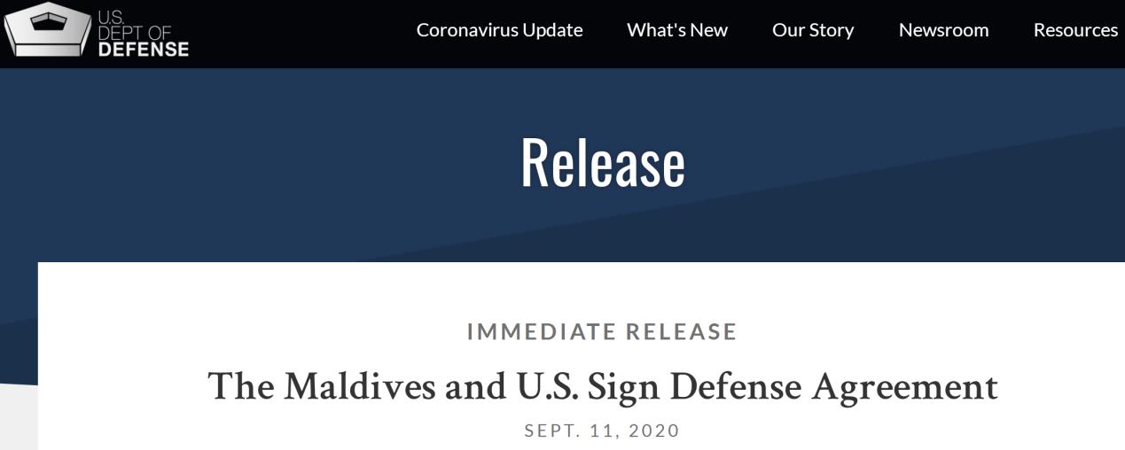 美国国防部:马尔代夫和美国签署防务协议