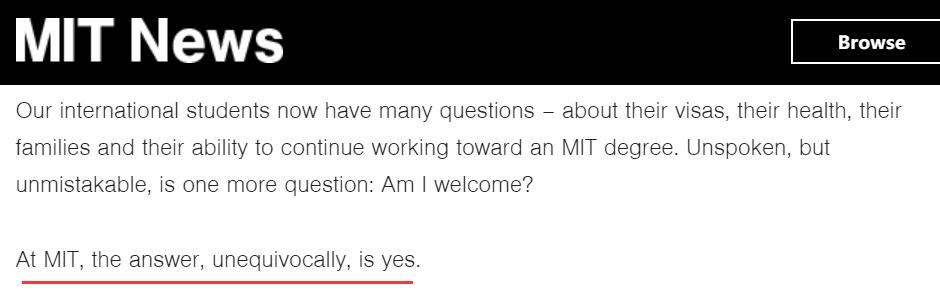 (截图来自麻省理工大学发布在其官网上的声明)