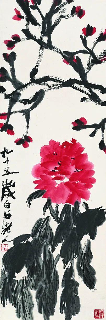 牡丹 齐白石 103.5X34cm 1955年 北京画院藏