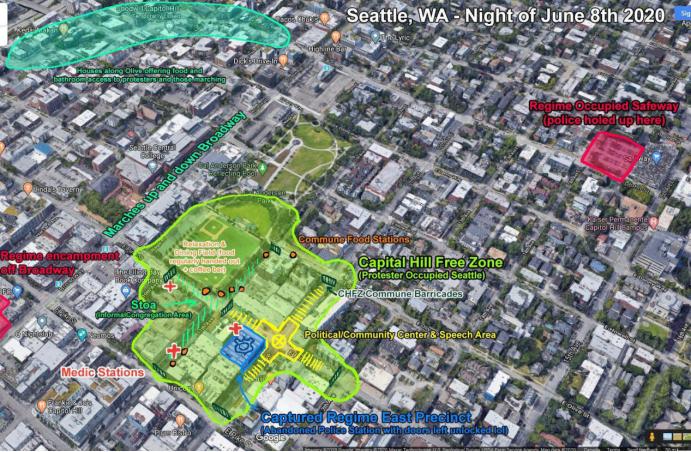 """图中绿色区域为示威者成立的所谓""""国会山自治区"""""""