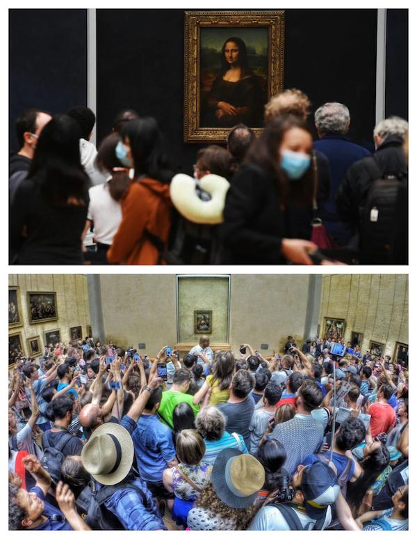 如今的《蒙娜丽莎》展厅和过去对比