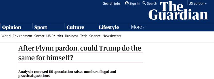 △英国《卫报》就特朗普能否赦免自己发表文章进行法条说明