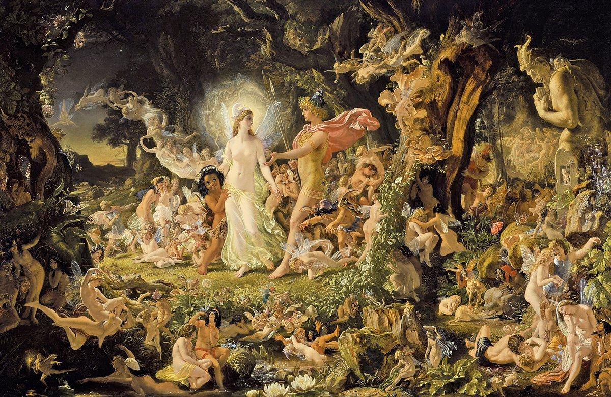 19世纪苏格兰画家约瑟夫·诺埃尔·佩顿的《奥布朗与提泰妮娅的争吵》,现存于苏格兰美术馆。维基百科 图