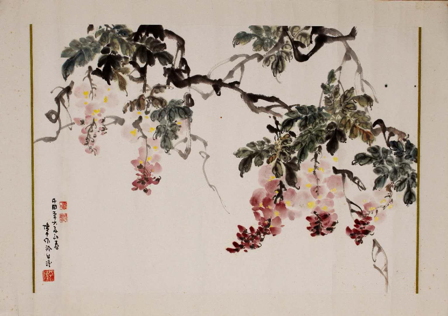1967年,三毛师从画家邵幼�习花鸟。这是她的习作紫藤花。