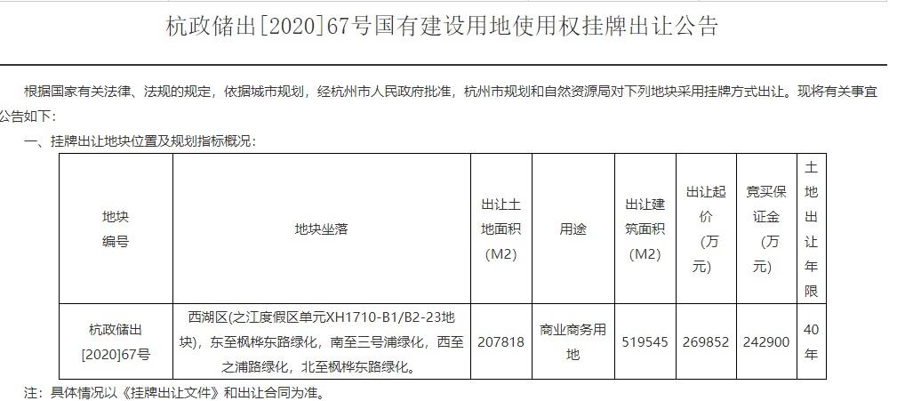 """杭州市规划资源局回应""""蚂蚁集团之江地块要退地""""传闻:谣言"""