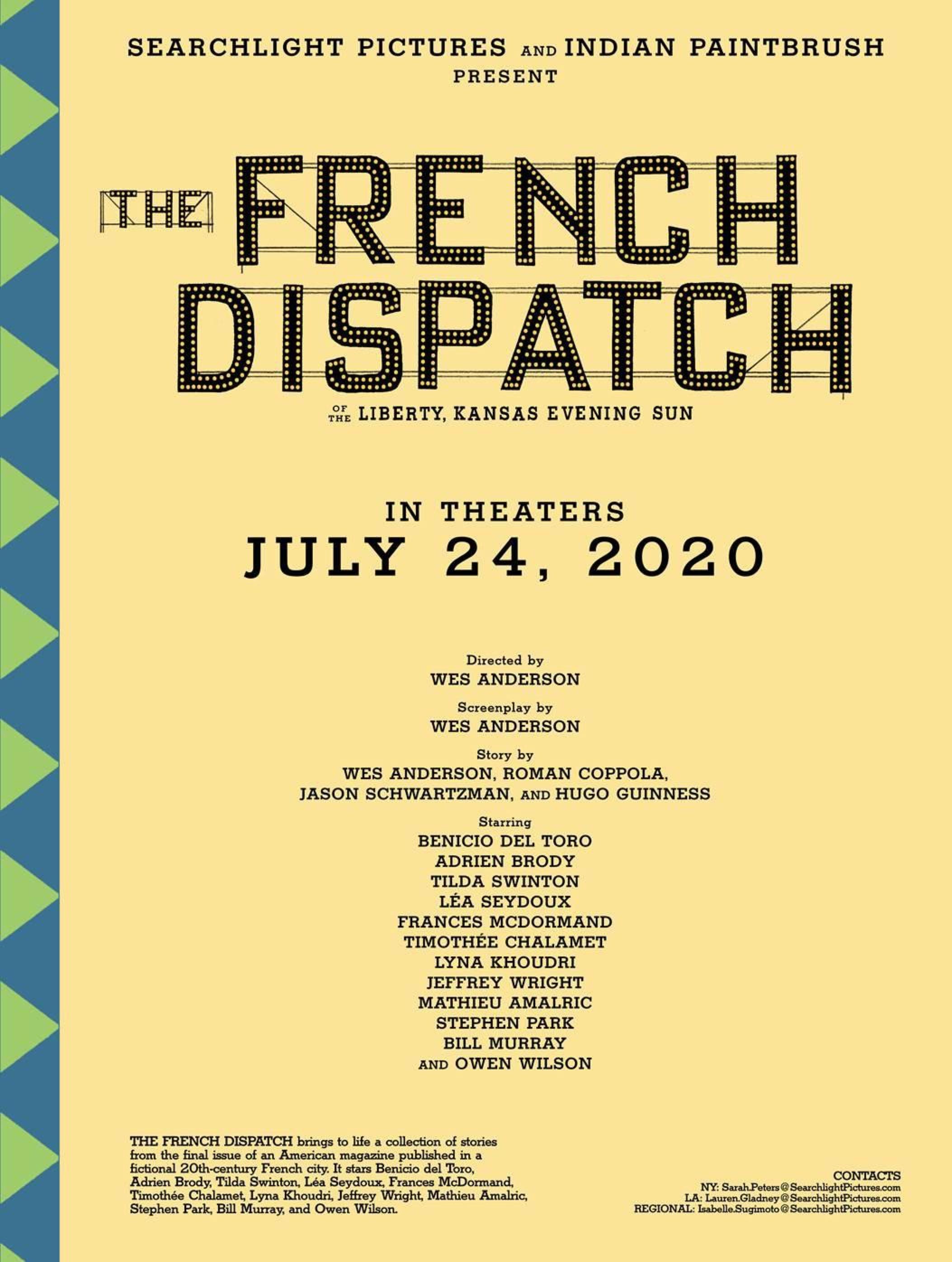 韋斯·安德森新片《法蘭西特派》定檔 7月下旬北美上映