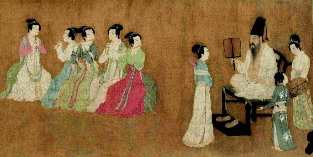 上图_ 《韩熙载夜宴图》描绘了官员韩熙载家设夜宴载歌行乐的场面
