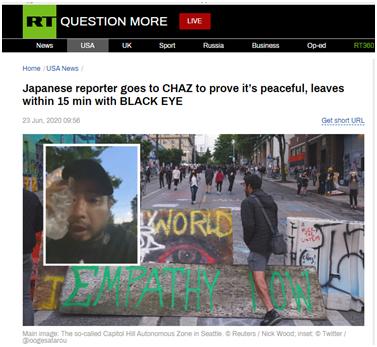 """RT报道:日本记者前往""""国会山自治区""""证明抗议是和平的,结果15分钟内就捂着黑眼圈离开"""