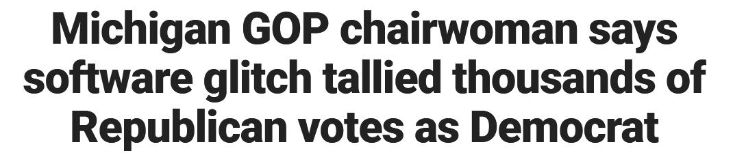 密歇根州共和党主席:6000张投给特朗普的票被算到了拜登名下