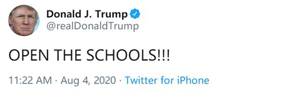 """【百晓生】_特朗普写了句""""开学吧"""",把""""闭上你的嘴""""送上热搜"""