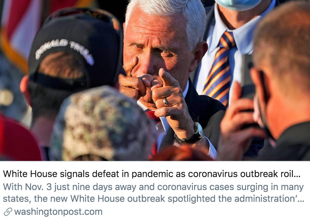 彭斯办公室暴发新冠肺炎疫情,透露着白宫的失败。/ 《华盛顿邮报》报道截图