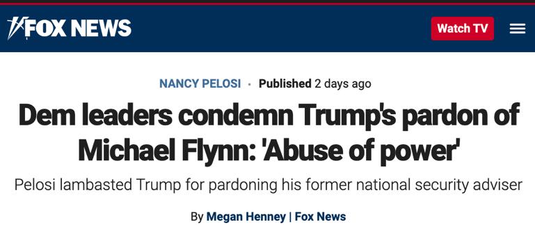 △福克斯新闻网站报道说,民主党领导人指责特朗普特赦弗林是滥用权力。