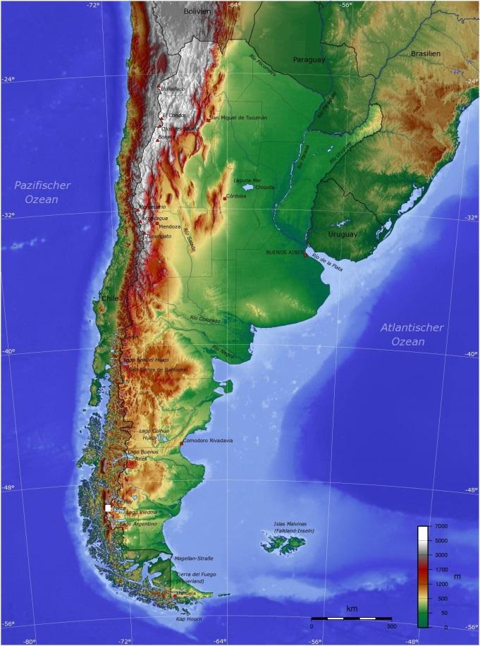 阿根廷地形图。