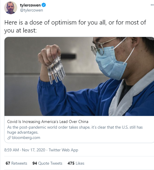 美国教授强文:新冠疫情证明美国不怕死人 比中国强大得多