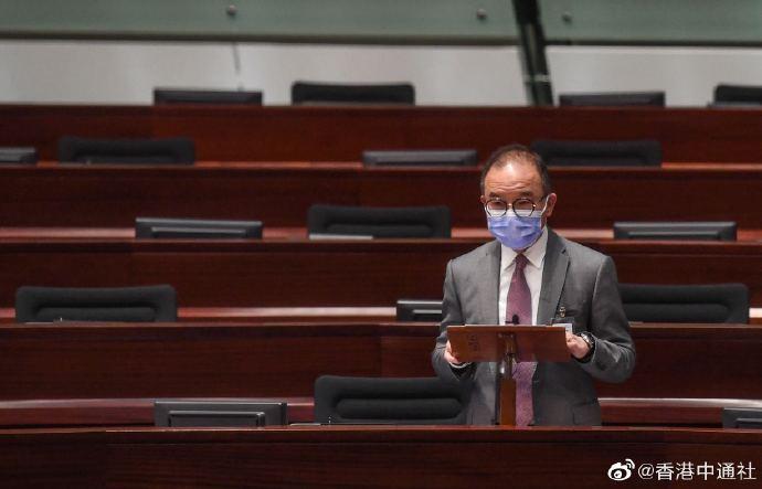 香港特区政制及内地事务局局长曾国卫发言 图自香港中通社
