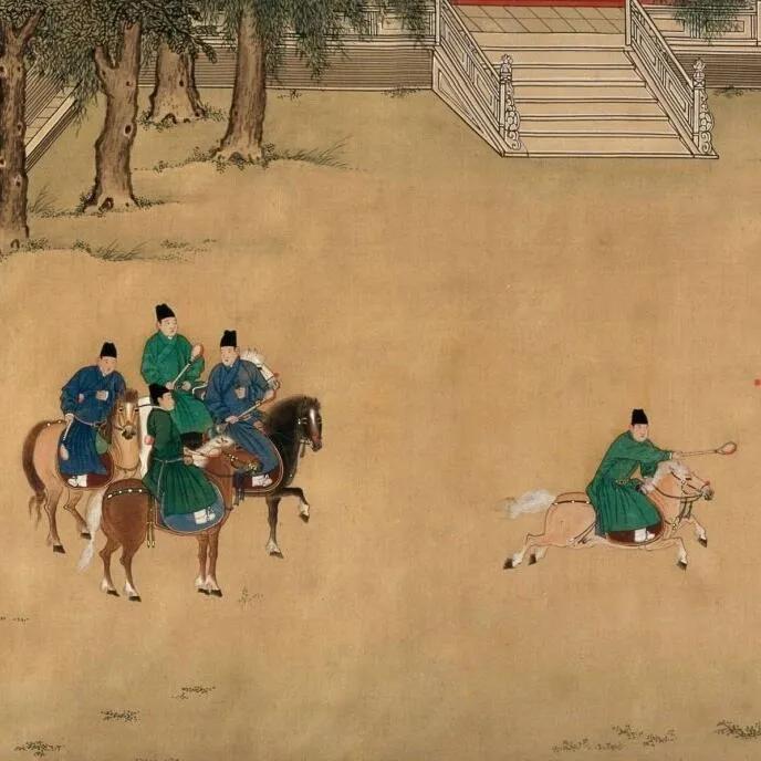 上图_ 《明宣宗行乐图卷》中的马球场景