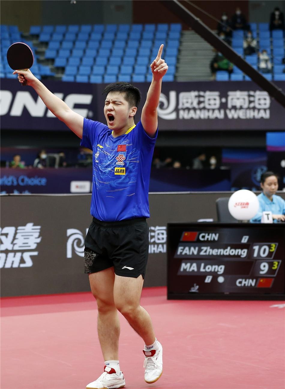 樊振东庆祝胜利。
