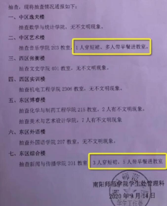 """南阳师范学院回应""""学生穿短裙上课被通报"""":利于营造良好学习环"""