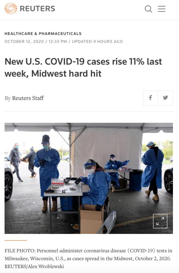 美媒:13州新冠检测阳性率超10%